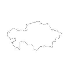 kazakhstan map black contour curves of vector image