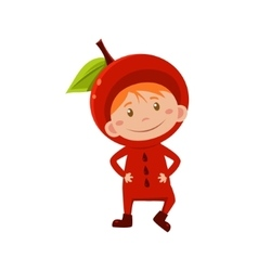 Kid In Apple Costume vector image