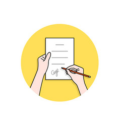 linear hands with signed contract vector image