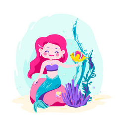 little cute mermaid sitting on a rock siren with vector image