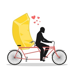 Lover gold Golden bullion on bicycle Lovers of vector