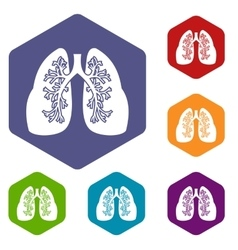 Lungs icons set vector