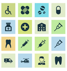 Medicine icons set collection of retreat vector