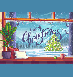 Merry christmas tree - view from window vector