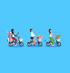 mix race women cycling bicycle carrying gift boxes vector image