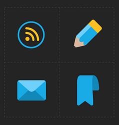 modern flat social icons set on dark vector image