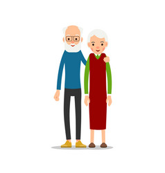 Old couple two aged people stand elderly man and vector