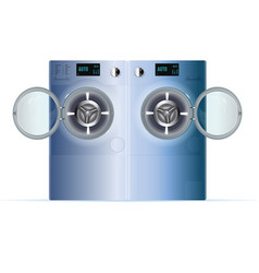 Open double washing machine front view of blue vector