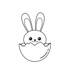 outline of easter bunny inside egg vector image