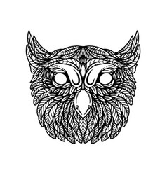 Owl head in floral style design element for vector