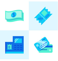 Payment and discount icon set in flat style vector
