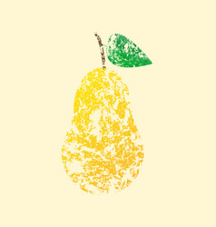 pear yellow with leaves vector image