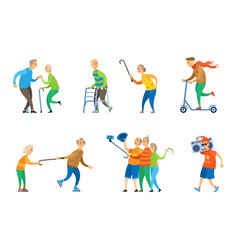 people dancing senior people relaxing music box vector image