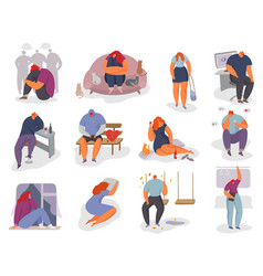 People feel lonely set woman vector