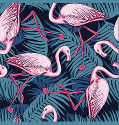 Pink flamingo and palm leaves seamless pattern vector
