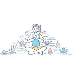 Practicing yoga - modern line design style vector