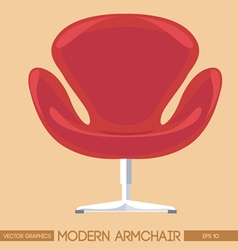 Red modern armchair over peach background Digital vector image