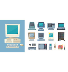 retro pc and electrical devices set gadgets with vector image