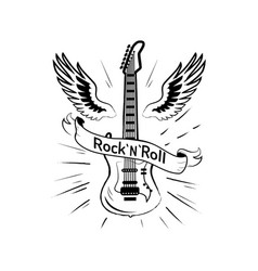 rock n roll picture and guitar vector image