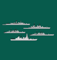 Royal navy british guided missile destroyers vector