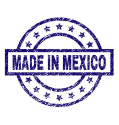 scratched textured made in mexico stamp seal vector image