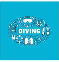 Scuba diving snorkeling banner vector