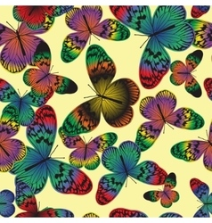 Seamless pattern with vintage colorful butterfly vector