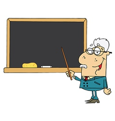 Senior Male School Teacher Pointing Chalk Board vector image