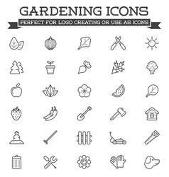 Set landscaping related line icons plants vector