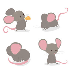 Set little cute mice in different poses isolated vector