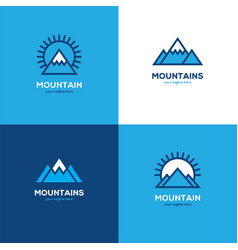 set of four geometric linear mountain logo vector image