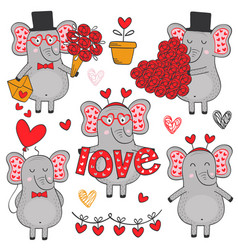 Set of isolated elephant in love part 1 vector