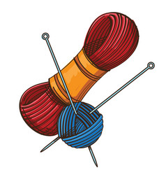 Set of knitting threads and clew with knitting vector