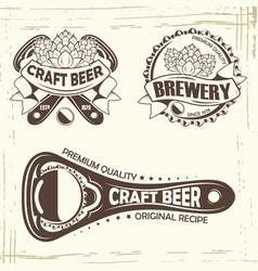 set three beer badge vector image