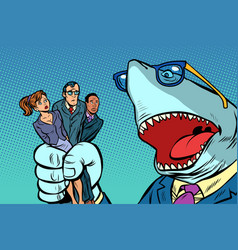 shark boss business and office staff vector image