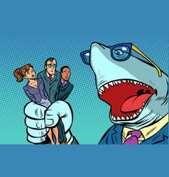 Shark boss business and office staff vector