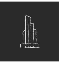Skyscraper office building icon drawn in chalk vector