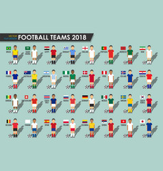 soccer cup teams 2018 set of football players vector image