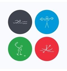 Swimming hockey and kayaking icons vector image