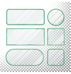 transparent glass buttons glass plates vector image