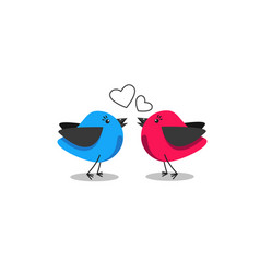 two cute birds in love pink and blue vector image