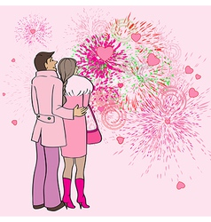 valentine s day fireworks vector image