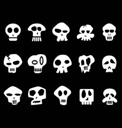 white funny skull icons on black background vector image
