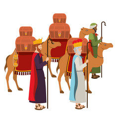 Wise kings with camels manger characters vector