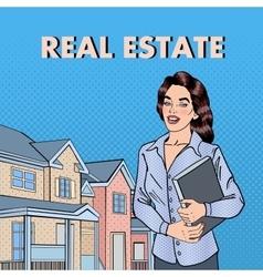 Woman Real Estate Agent Pop Art vector image