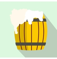 Wooden barrel of beer with froth icon flat style vector image