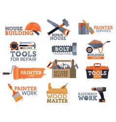 work tool house repair and construction icons vector image
