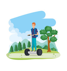 Young man in folding e-scooter on landscape vector