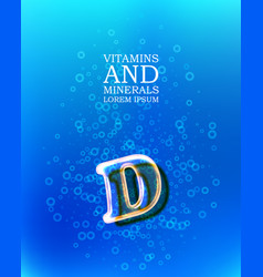 3d vitamin glass sign vector image