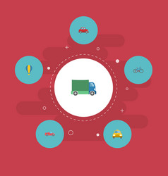 Flat icons lorry cab luxury auto and other vector
